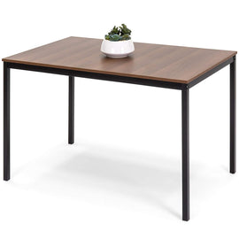 Modern Rectangular Dining Table Office Desk w/Wood Finish Tabletop, Steel Frame