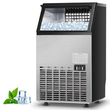 Commercial  Ice Maker Built-In Stainless Steel, 110LBS/24H, 33LBS Storage Capacity, Free-Standing Design for Party,Restaurant, Bar (Silver)