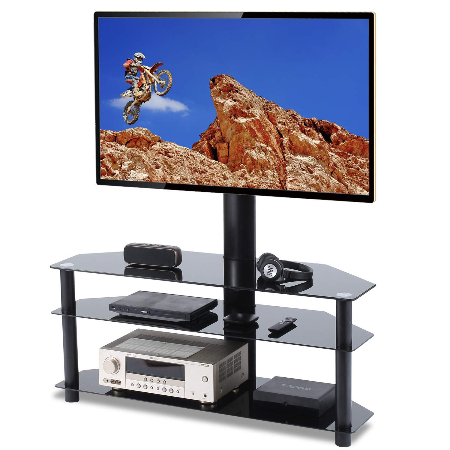 Floor TV Stand with Mount 3-in-1 Flat Panel Entertainment Stand for 32 37 42 45 50 55 60 65in Plasma LCD LED or Curved Screen 3-Tier  Tempered