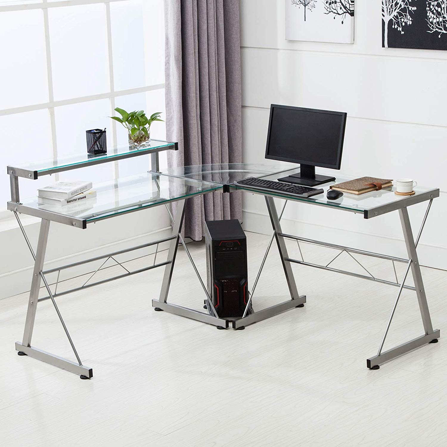 L-Shaped Corner Computer Desk with Shelf & Stand, Glass Laptop PC/Computer Table Workstation Home Office Furniture, Glass & Metal, Clear