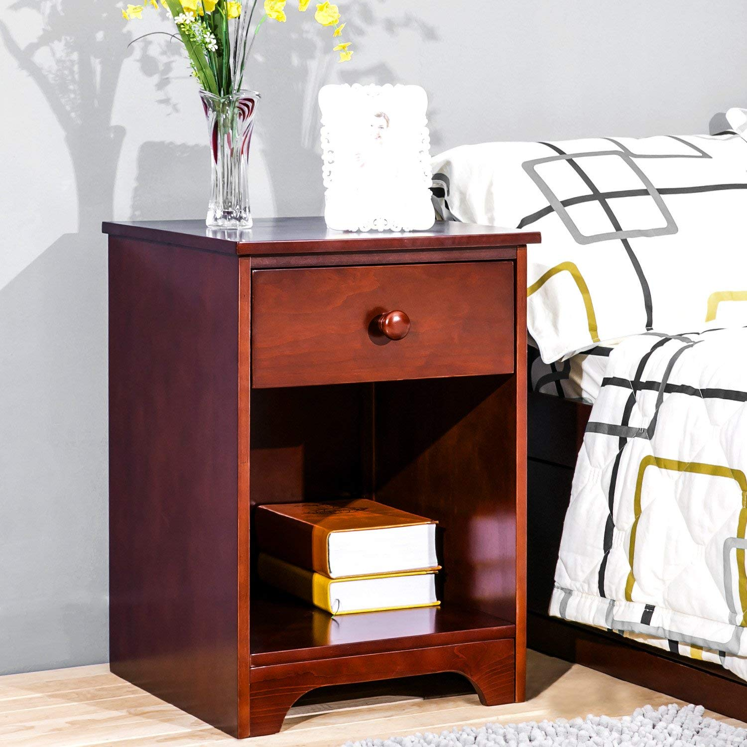Wooden Accent Table Night Stand Beside Table with Storage Shelf and Drawer Nightstands for Bedrooms