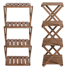 4-Tier Foldable Flower Rack Plant Stand Wood Shelf Multipurpose Utility Storage for Yard Garden Patio Balcony Bedroom