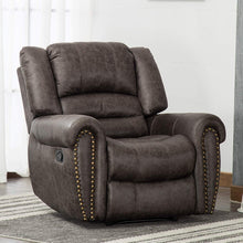 Leather Recliner Chair Breathable Bonded, Classic and Traditional 1 Seat Sofa Manual Recliner Chair with Overstuffed Arms and Back, Dark Brown