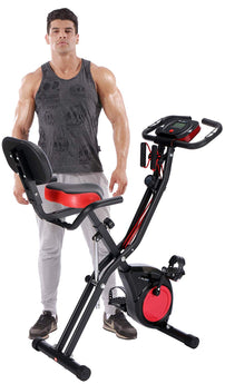 Upright Stationary Exercise Bike with Arm Exercise Resistance Bands and Phone Holder