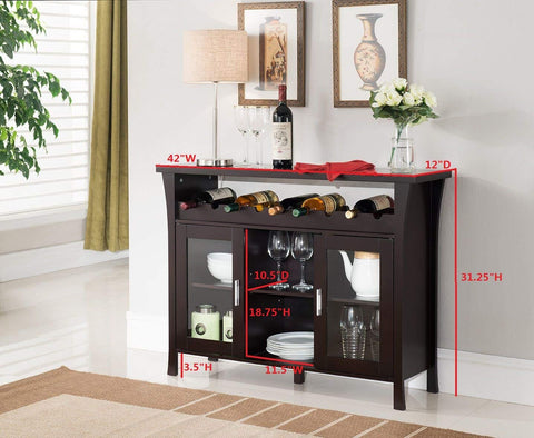 Wine Rack Buffet Server Console Table with Glass Doors, Espresso