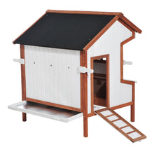 "43"" Raised Portable Backyard Wooden Cottage Chicken Coop with Nesting Box and Handles"