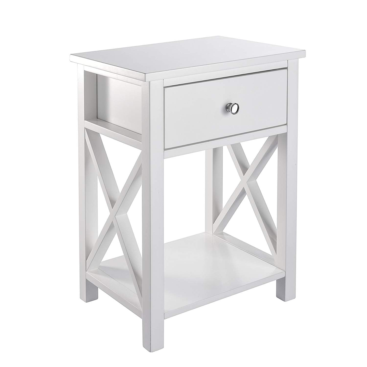 X-Design Side End Table Night Stand Storage Shelf with Bin Drawer