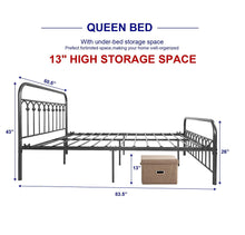 Metal Bed Frame Queen Size with Vintage Headboard and Footboard Platform Base Wrought Iron Double Bed Frame Gray Silver (Queen, Gray Silver)