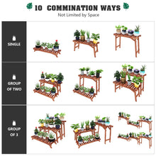 Wood Plant Stand Indoor Outdoor 3 Tiered Corner Ladder Plant Pot Stand Multi Level Step Flower Pot Shelf Display (3 Pcs/Set,27.6 inch)