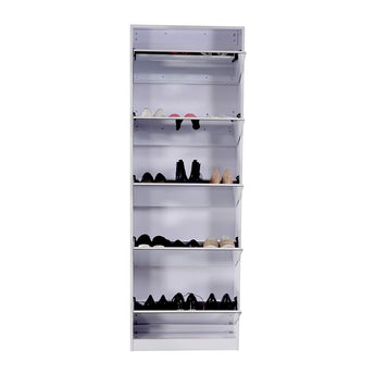 Wooden Shoe Cabinet Mirror Shoe Organizer with with 5 Racks