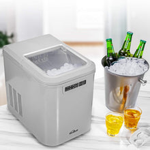 Countertop Ice Maker, 28lbs Ice in 24 hours, 7-13 minutes Producing, with LED Display, 2 Quart Water Tank and Ice Scoop, for Home, Bar, Silver
