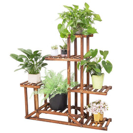 Wooden Plant Stand Flower Pot Shelf 5 Tier Bonsai Display Storage Rack Holder Outdoor Indoor, LxWxH - 37.4x9.84x37.79 inch