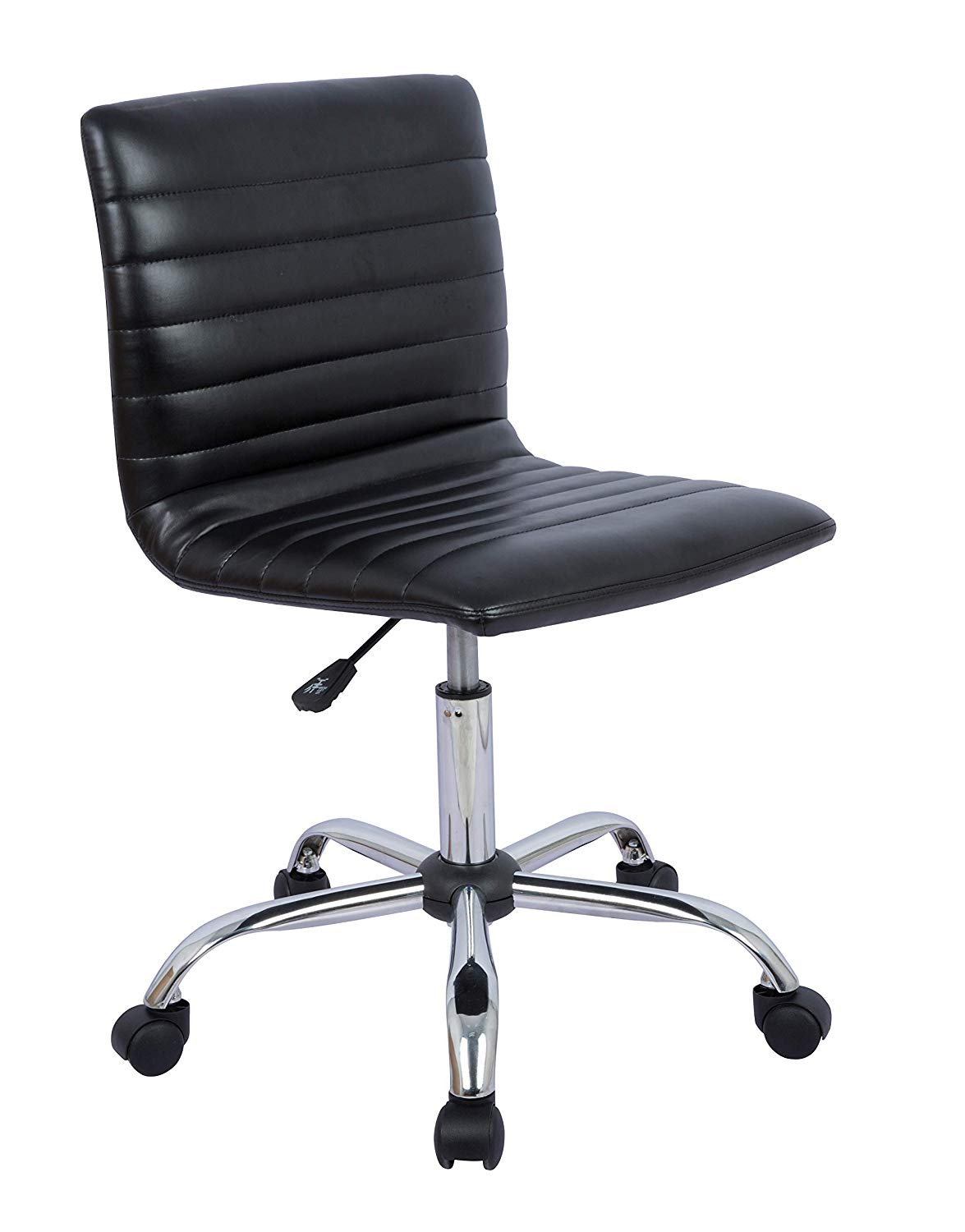 Modern Adjustable Low Back Armless Ribbed Office Desk Task Chair, Black