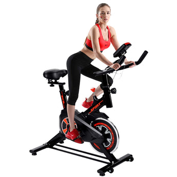 Upgraded Spinning Bike Home Fitness Equipment Indoor Silent Bicycle,Basic Sports Bike,Red