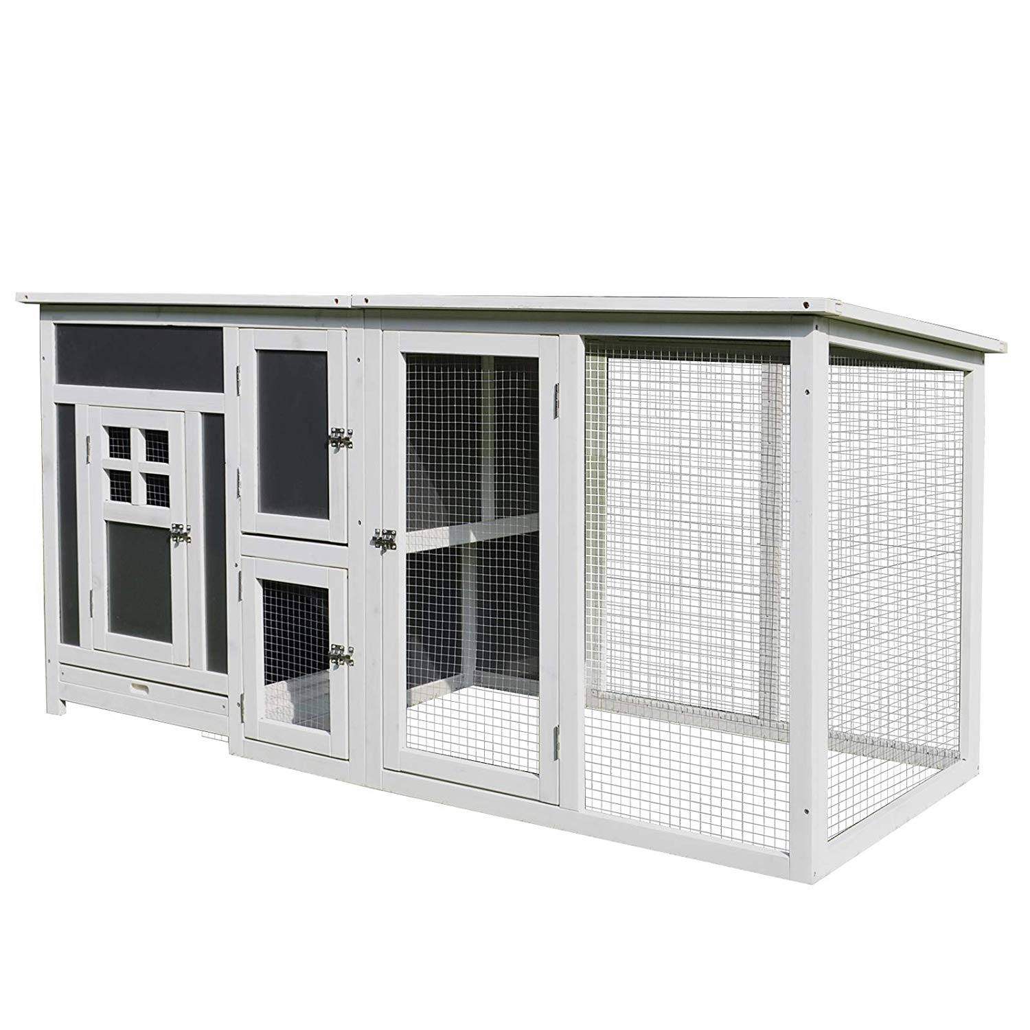 32�Wood Large Indoor Outdoor Chicken Coop with Run& Nesting Box - Grey and White