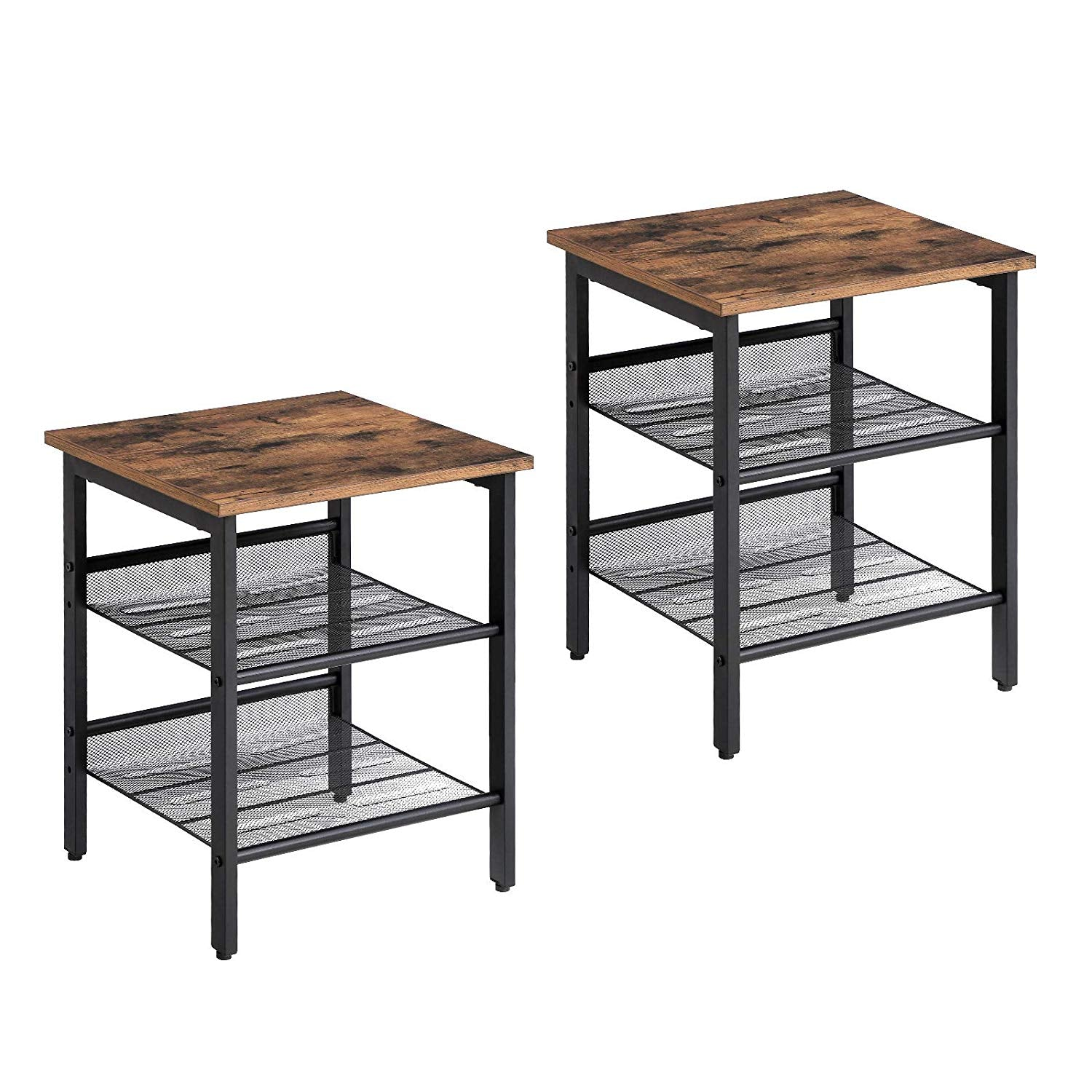 Industrial Nightstand, Set of 2 Side Tables, End Table with Adjustable Mesh Shelves, Stable Metal Frame and Easy Assembly, for Room
