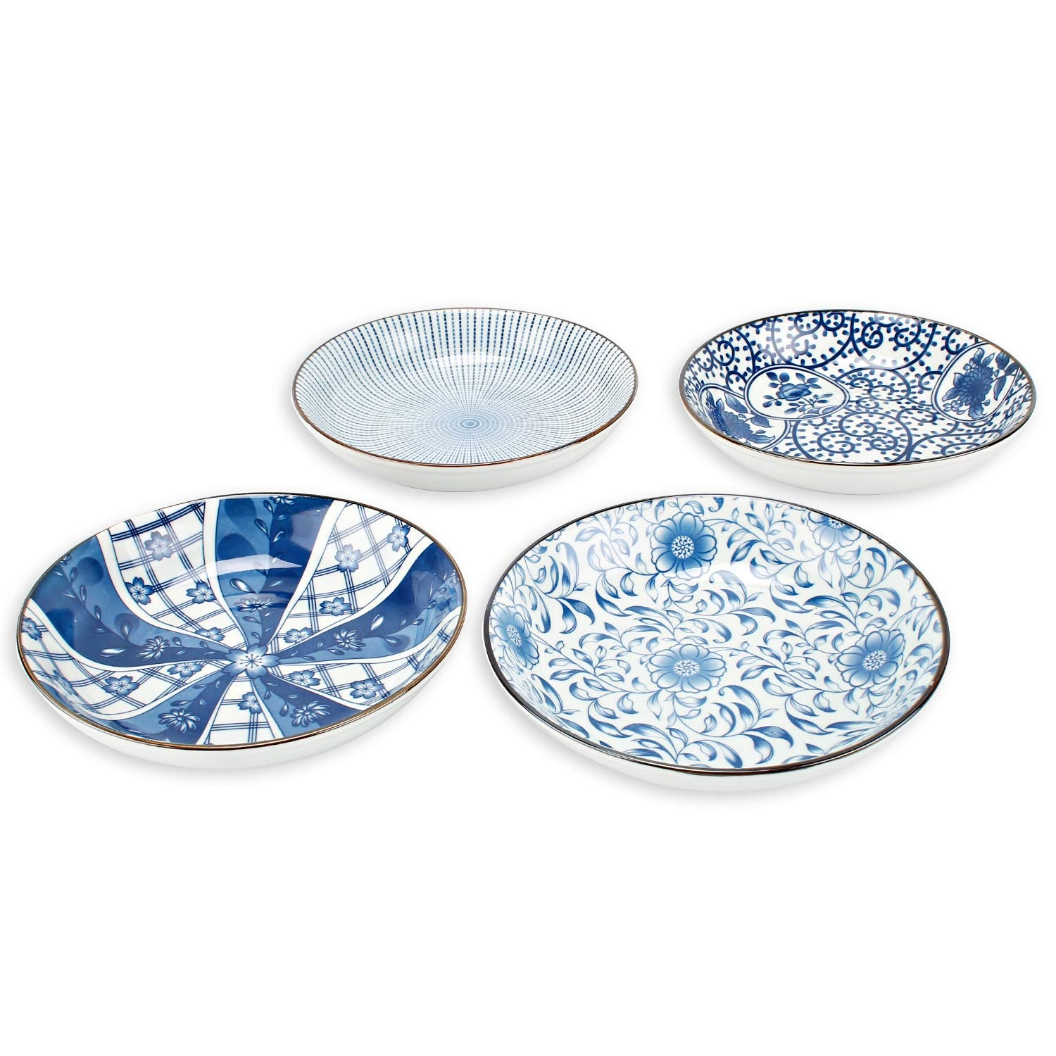 Porcelain Blue and White Bread and Butter Dinner Plate Set, Appetizer Salad Floral Dessert Snack Serving Shallow Plates Set Set of 4, 7-inch