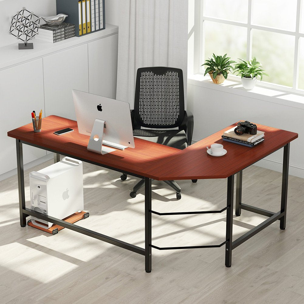 L-Shaped Desk Corner Computer Desk PC Laptop Study Table Workstation Home Office Wood & Metal (Mahogany Brown)