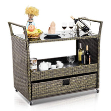 Rolling Wicker Cart Rattan Bar Cart Outdoor Serving Cart Portable Kitchen Trolley Cart W/Shelves and Big Drawer for Dining Room Use