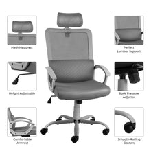 Smugdesk Ergonomic Office Chair High Back Mesh Office Chair Computer Task Chair with Adjustable Headrest , Gray