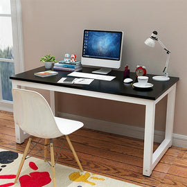 Simple Computer Desk, PC Laptop Writing Study Table, Gaming Computer Table, Workstation Wood Desktop Metal Frame, Modern Home Office Furniture