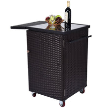 Rattan Wicker Kitchen Trolley Cart Patio Home Lawn Roller Dining Storage Glass Stand Flexible Casters