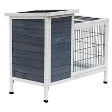 "36"" Raised Outdoor Weatherproof Wooden Rabbit Hutch Bunny Cage with Enclosed Run"