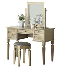 F4186 Vanity Table with Stool Set, Rose Gold