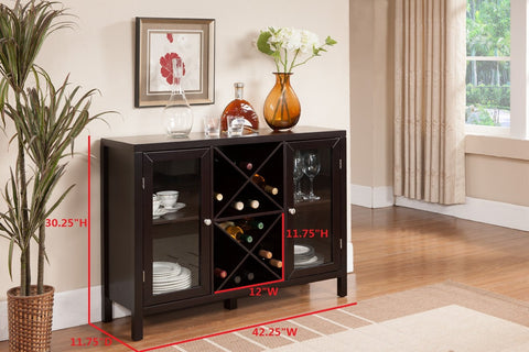 Wood Wine Rack Console Sideboard Table with Storage, Espresso