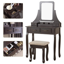 Makeup Vanity Table Set with Mirror, Cushioned Stool, 4 Drawers and Gift Makeup Organizer Dressing Table Brown