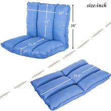 Adjustable 5-Position Folding Floor Chair Gaming Sofa Lounger Bed (Blue)