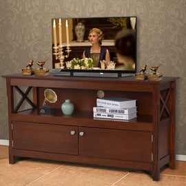 Wood TV Stand, Modern Multipurpose Home Furniture Storage Console Entertainment Media Center (Brown)