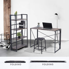 Camande Writing Computer Desk Modern Simple Study Desk Industrial Style Folding Laptop Table for Home Office Brown Notebook Desk