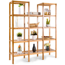 Bamboo Utility Shelf Bathroom Rack Plant Display Stand 5-Tier Storage Organizer Rack Cube W/Several Cell Closet Storage Cabinet (12-Pots)