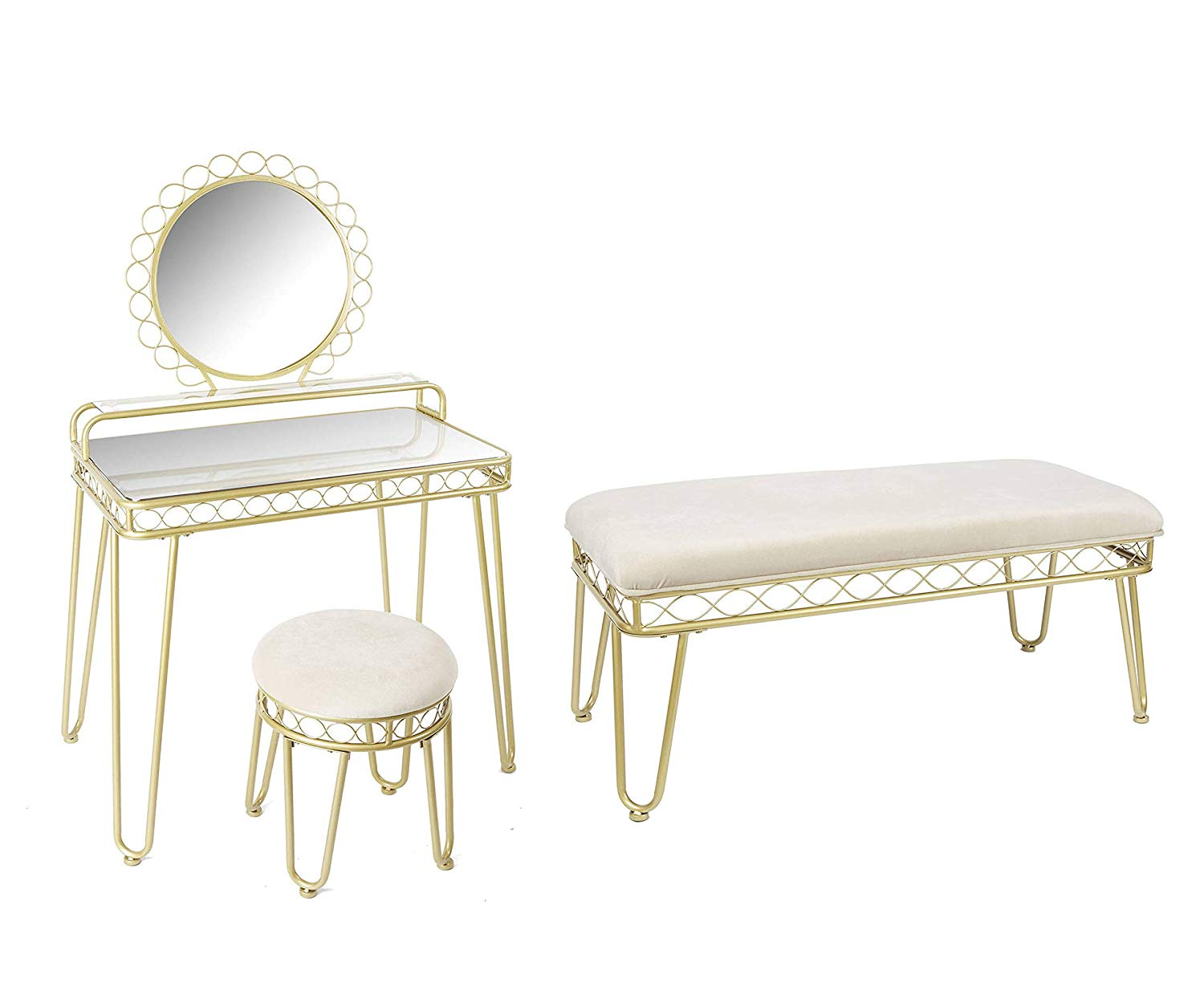 Bench Bundle Mirabella Bedroom Vanity & Stool|