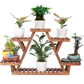 Pine Wood Plant Stand Indoor Outdoor Carbonized Triangle 6 Tiered Corner Plant Rack Shelf Holder,with Nut Gasket Heavy Duty,Stable