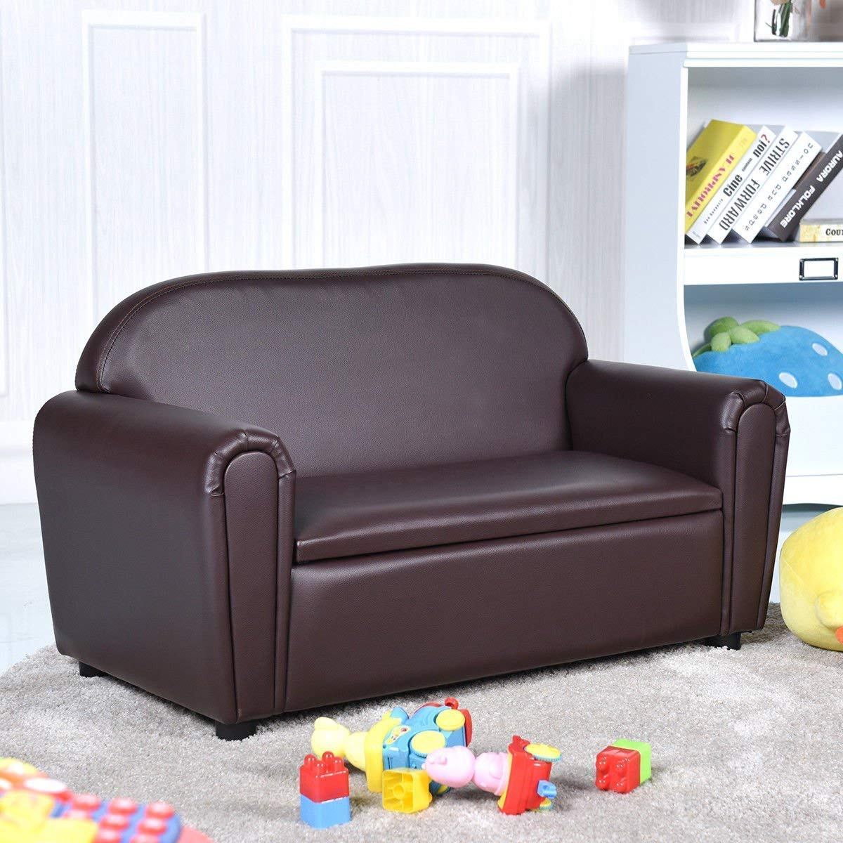 Kids Sofa, Upholstered Couch, Sturdy Wood Construction, Armrest Chair for Preschool Children, Couch with Storage Box (Double Seat)