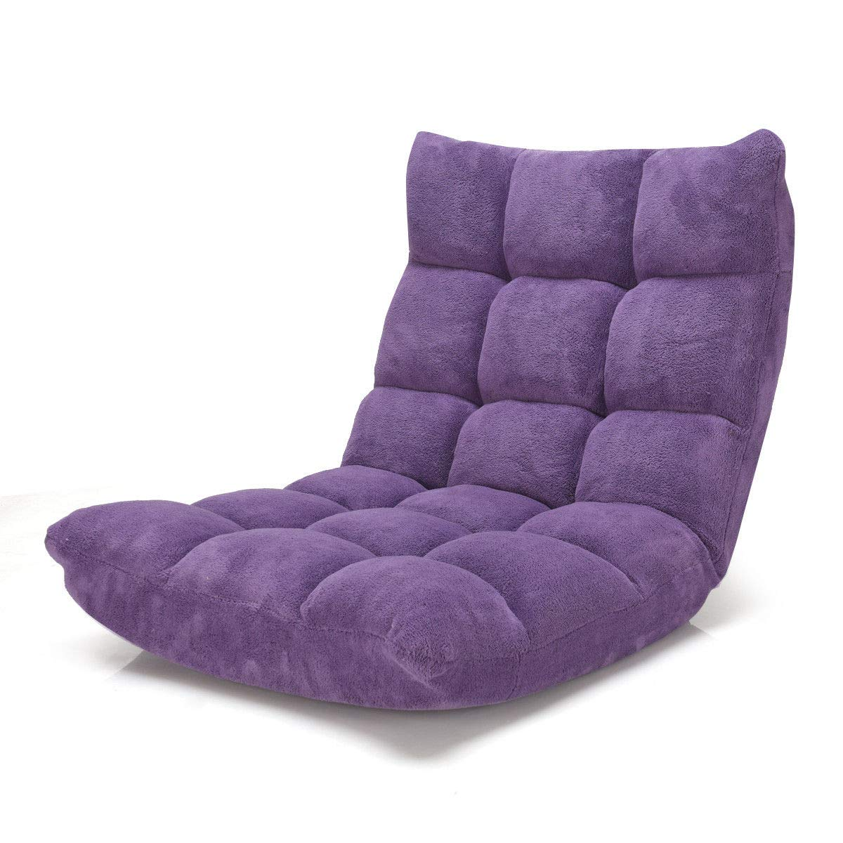 Chair Folding Gaming Sofa Chair Cushioned Purple Adjustable 14-Position Floor