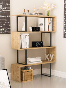 4-Shelf Geometric Modern Industrial Etagere Bookcase Bookshelf Shelving Unit (Black and Oak)