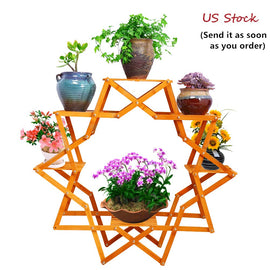 Wooden Flower Stand Six Tier Planter Display Creative Design Indoor Outdoor Rack Sturdy Construction Foldable Plant Stand