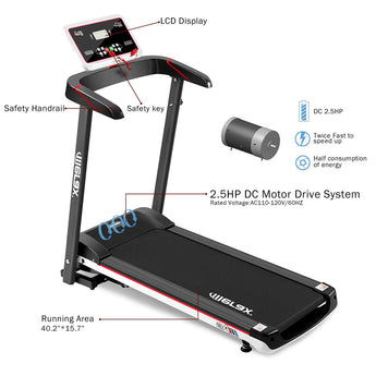 \ A6 Easy Assembly Folding Electric Treadmill Home Gym Motorized Power Running Machine