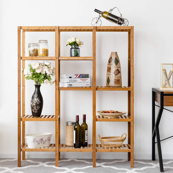 Multifunctional Bamboo Shelf Bathroom Rack Storage Organizer Rack Plant Display Stand W/Several Cell Closet Storage Cabinet (5-Tier)