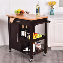 New Rolling Wood Kitchen Island Trolley Cart  Top Storage Cabinet Utility