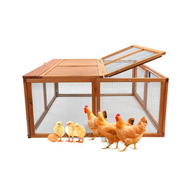 Wooden Chicken Coop Rabbit Hutch Pet Cage Wood Small Animal Poultry Cage Run Indoor