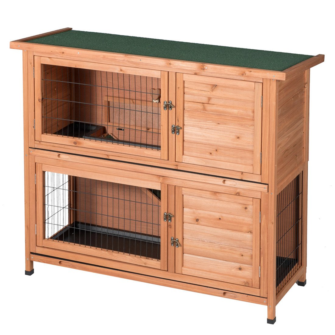 Two Floors Wooden Outdoor Indoor Bunny Hutch Rabbit Cage Guinea Pig Coop PET House for Small Animals Nature Color PET383