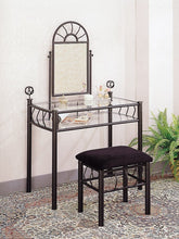 Vanity Set Includes, Vanity Table, Mirror and Bench, Sunburst Design, Black Finish Metal
