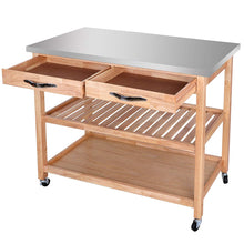 Rolling Kitchen Island Utility Kitchen Serving Cart w/Stainless Steel Countertop, Spacious Drawers and Lockable Wheels, Natural