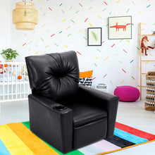 Kids Recliner Chair Manual PU Leather Reclining Seat w/Cup Holder (Black)