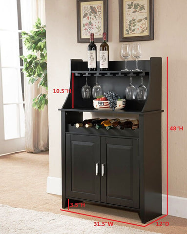Wood Wine Rack Buffet & Storage Cabinet, Black