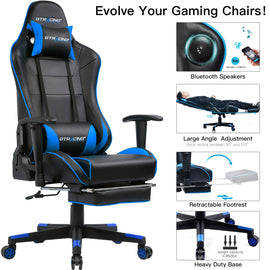 Gaming Chair with Bluetooth Speakers and Footrest Music Video Game Chair Audio Heavy Duty Computer Desk Chair GT909M Blue